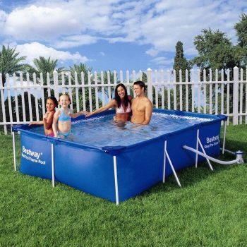Bestway Steel Pro Rectangular Frame Pool with Pump 300 x 201 x 66cm, Above Ground Pool