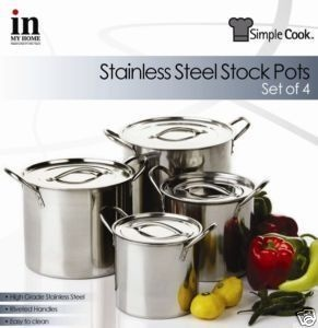 Stainless Steel Stock Pots x 4