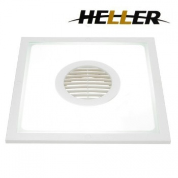 Heller Square Exhaust Fan & Light White, 10 Inch, 2 In 1