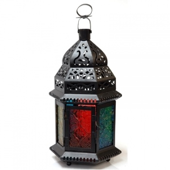 Lantern Ornate Scroll, Glass Hex Lantern