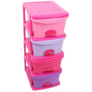 Childrens Storage Drawers, 4 Drawer, Pink