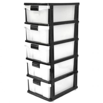 Storage Cabinet, 5 Drawer Storage Cabinet, Black
