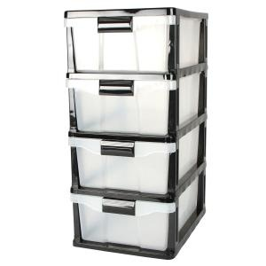 Storage Cabinet, 4 Drawer Storage Cabinet, Black
