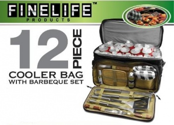 Cooler Bag with Bonus 12 Piece BBQ Set