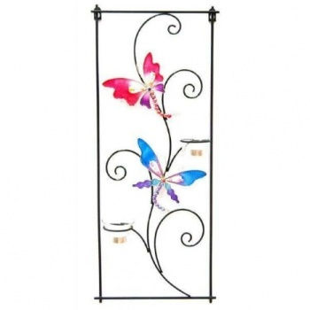 Butterfly Candle Metal Wall Sconce, Wall Art