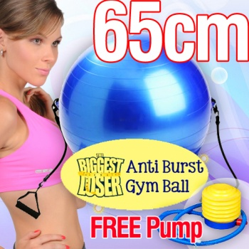 The Biggest Loser Yoga Ball, Fitness Ball with Resistance Band and Bonus Pump