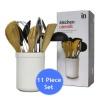 Kitchen Utensil Set 11 Piece with White Ceramic Holder