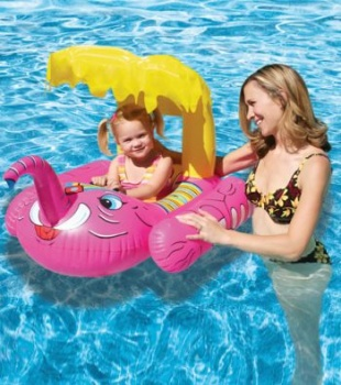 Poolmaster Elephant Baby Seat Rider with Sunshade