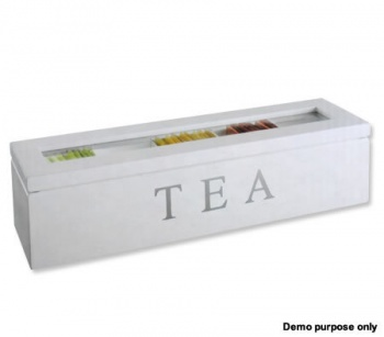 Wooden Tea Storage Box Container with Glass Top, 4 Compartments, White