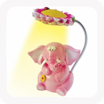 Pink Elephant Night Light With Flexible Lamp Head